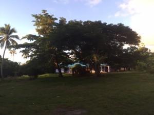 Mangaliliu Village church at sunset